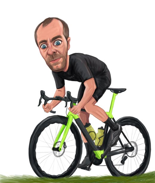 Funny Portrait Caricature of Guy on Bycicle