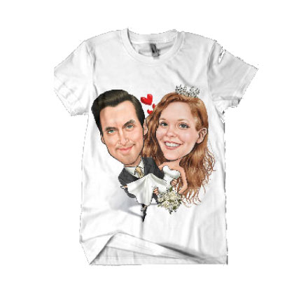 Wedding couple holding each other printed on t-shirt