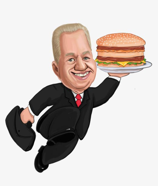 Funny Caricature of a Man in Suit carying Hamburger