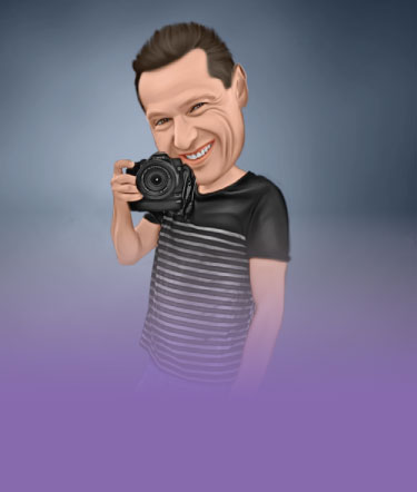 Realistic Caricature Drawing of Photographer in T-shirt