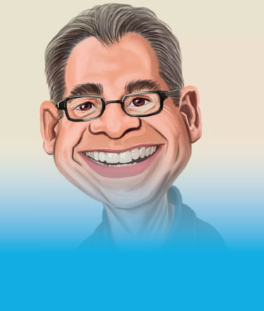 Funny Caricature of 50 Years Old Smiling Man with Glasses