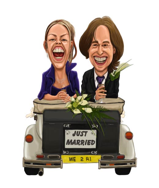 Just Married Caricature of a Wedding Couple Inside Cabriolet Car