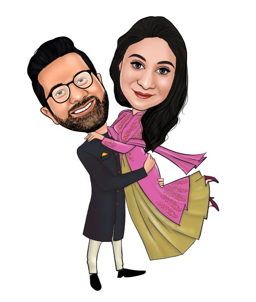 Realistic Wedding Caricature of Groom Holding Bride in Traditional Clothes