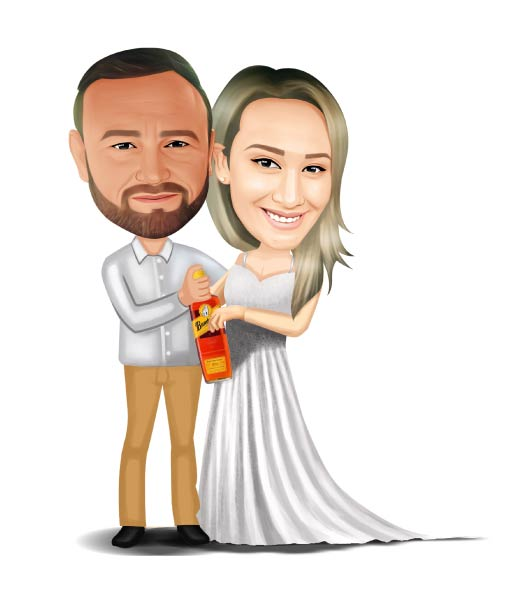 Full Body Wedding Couple Caricature Holding Bottle of Whiskey