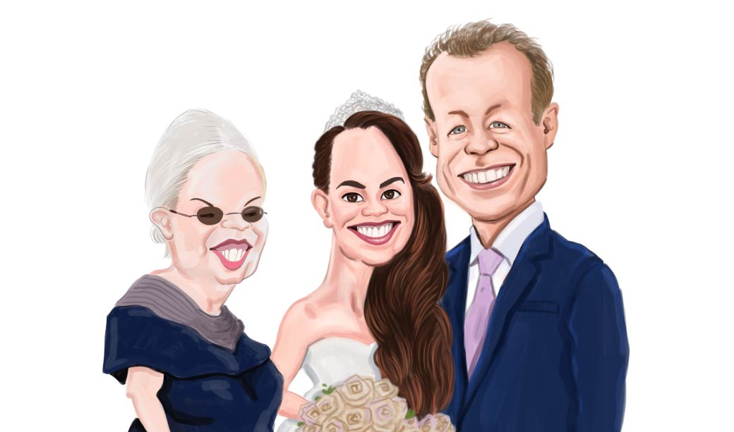 A Three persons Gift Caricature For Bride and Groom with them