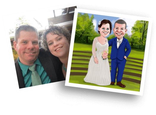 Before/After Wedding Caricature