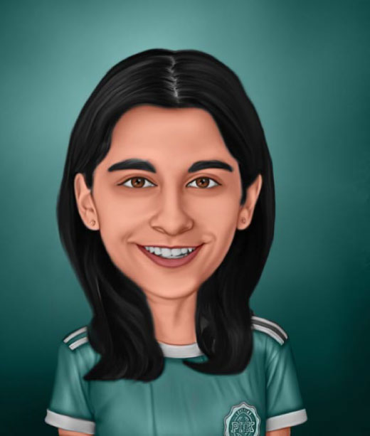 Realistic Caricature Portrait of a Girl with black hair wearing green t-shirt