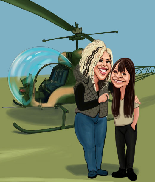 Mother and Daughter Caricature in Front of a Helicopter